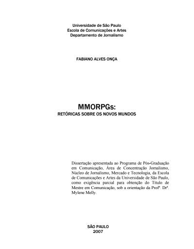 ONÇA Fabiano Alves - MMORPGs retóricas sobre os novos mundos